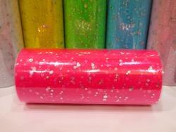Фатин в шпульке с блестками цв. ярко-розовый