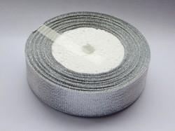 Металлизированная лента цв. серебро 25 мм.(1м.)