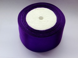 Атласная лента цв. темно-фиолетовый 50 мм.