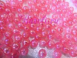 Бусины акриловые цв. розовый перламутр  D 8 мм. (100 шт.)
