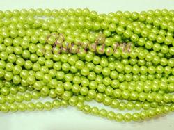 Бусины цв. салатовый жемчуг D 10 мм. (50 шт.)