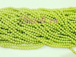 Бусины цв. салатовый жемчуг D 6 мм. (150 шт.)