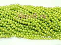 Бусины цв. салатовый жемчуг D 8 мм. (100 шт.)