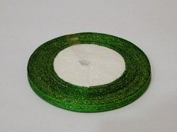 Металлизированная лента цв. зеленый 6 мм.
