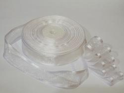 Лента из органзы с сатиновым краем цв. белый 25 мм.