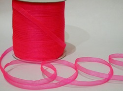 Лента из органзы цв. ярко-розовый 6,5 мм.(5м.)