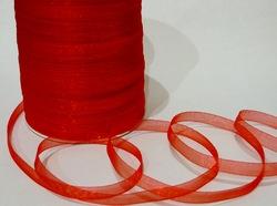 Лента из органзы цв. красный 10 мм.(5м.)